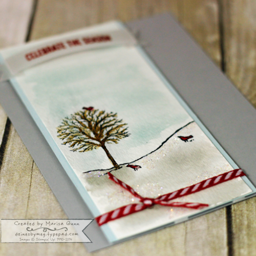 Christmas card using the Happy Scenes stamps from Stampinn' Up! by Marisa Gunn