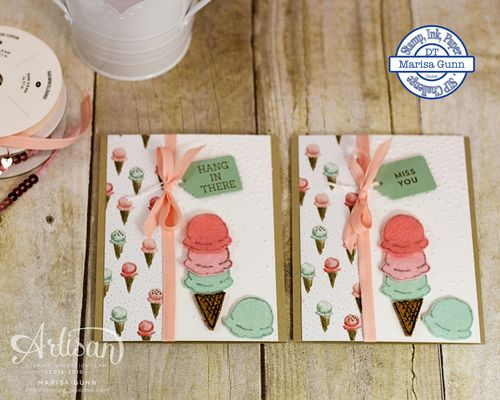 Encouragement cards using the Honeycomb Happiness stamp set from Stampin' Up! and natural elements of felt and cork for the Stamp, Ink, Paper #37 Challenge by Marisa Gunn.