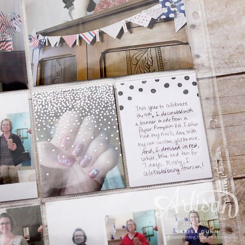 Pocket page layout with Memories in the Making Bundle from Stampin' Up!, by Marisa Gunn celebrating the 4th of July! PLxSU