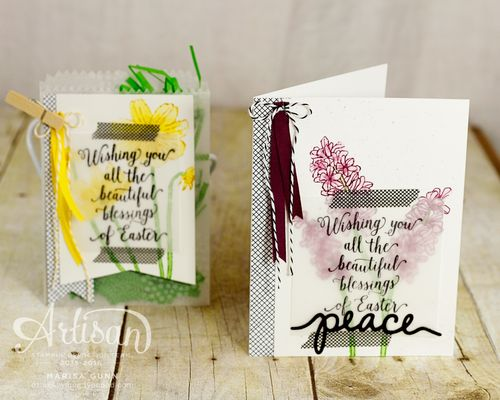 Easter card and treat bag using the Helping Me Grow and Suite Sayings stamp sets from Stampin' Up! by Marisa Gunn for the OSAT March 2016 Blog Hop.