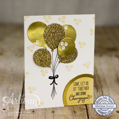 Gold wedding congratulations card using the Balloon Celebration Stamp Set and the Balloon Bouquet Punch from Stampin' Up! by Marisa Gunn