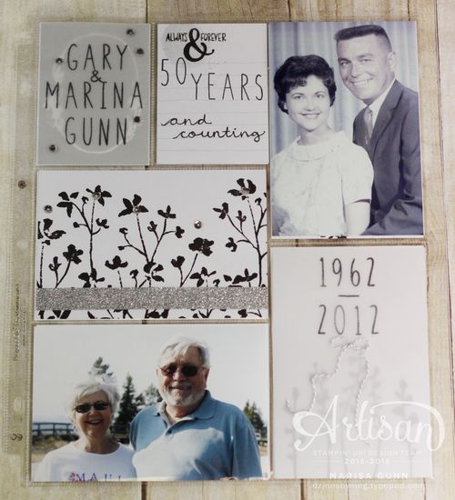 50th Wedding Anniversary Project Life Album Pg1 by Marisa Gunn using Love Story PLxSU