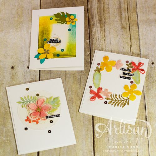 Watercolor cards for all occasions featuring the Botanical Blooms and Silhouettes & Script stamp sets and Botanical Builder dies from Stampin' Up by Marisa Gunn