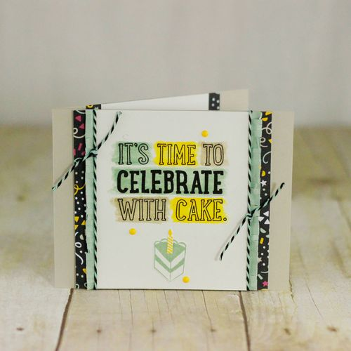 Birthday cards, gift bag and box featuring the Party with Cake Stamp Set and Party Pop-Up Thinlits dies from Stampin' Up! by Marisa Gunn