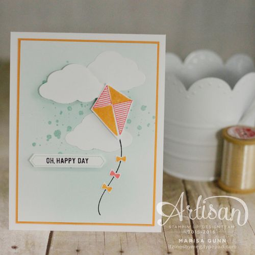 OSAT Summer Lovin' Blog Hop with a card and gift bag featuring the Swirly Bird and Thoughtful Banners stamp sets by Stampin' Up by Marisa Gunn