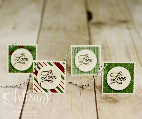 Christmas tag set and gift box featuring the Peace This Christmas stamp set and This Christmas specialty paper from Stampin' Up by Marisa Gunn
