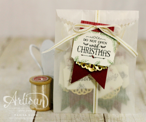 Christmas tag set and gift bag featuring the Peace This Christmas Stamp Set and This Christmas Designer Series Specialty Paper from Stampin' Up by Marisa Gunn