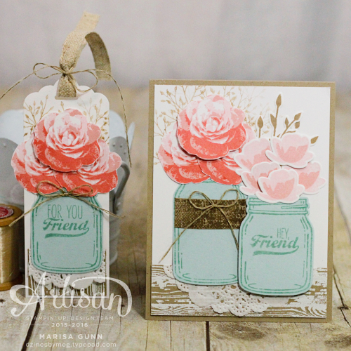 OSAT Blog Hop Shabby Chic card and tag using Jar of Love bundle from Stampin' Up, by Marisa Gunn