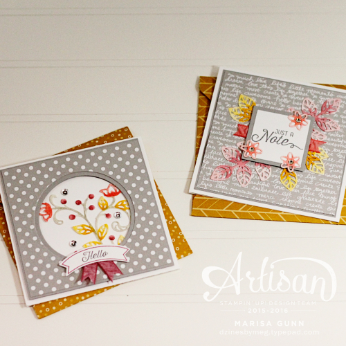 Note Card set featuring the Flourishing Phrases Bundle from Stampin' Up! by Marisa Gunn