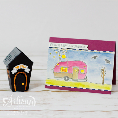 Halloween card and treat holder featuring Glamper Greetings and Sweet Home Bundle from Stampin' Up! by Marisa Gunn