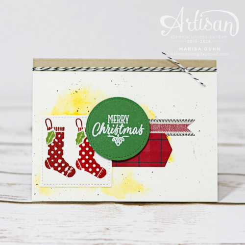 Holiday cards featuring the Stitched Shapes Framelits Dies, Christmas Pines Stamp Set and Hang Your Stocking Stamp Set from Stampin' Up by Marisa Gunn