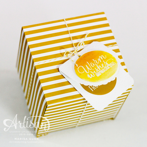 Gift tags featuring the Tin of Tags Stamp Set and Cheerful Tags Framelits Dies from Stampin' Up! by Marisa Gunn