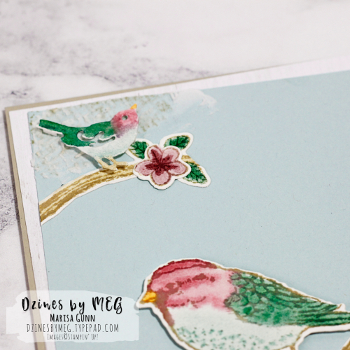 Friendship card and gift bag featuring the Best Birds Stamp Set from Stampin' Up by Marisa Gunn for OSAT Blog Hop.