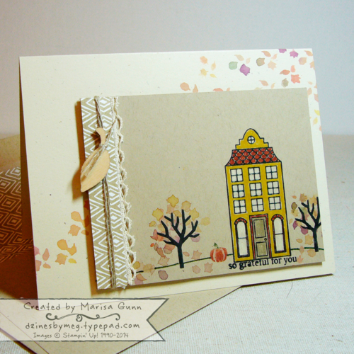 Holiday Home friendship card by Marisa Gunn, #dzinesbymeg, FMS158, watercolor stamping, coloring with markers