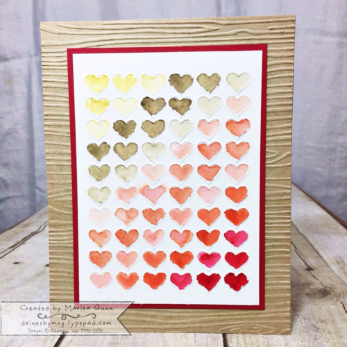 Watercolor Embossed Hearts Valentine's Decor Piece by Marisa Gunn