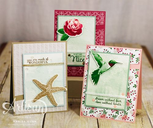 Card Trio using Picture Perfect stamp set and Love Blossoms patterned paper from Stampin' Up!, by Marisa Gunn