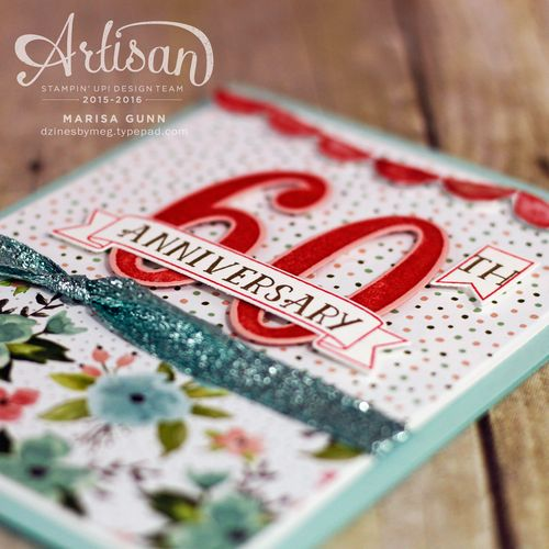 60th Anniversary card using large numbers framelits dies and the Number of Years stamp set from Stampin' Up! by Marisa Gunn