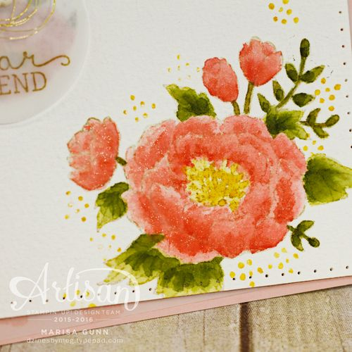 Friendship card using Birthday Bouquet DSP and the Birthday Blooms Stamp Set from Stampin' Up!, and the no-line watercolor technique by Marisa Gunn.