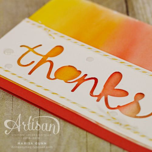 Watercolor thanks card using the Hello You Thinlits dies from Stampin' Up! by Marisa Gunn