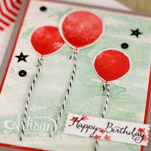 Birthday card using the Balloon Celebration stamp set and Balloon Bouquet Punch from Stampin' Up! by Marisa Gunn