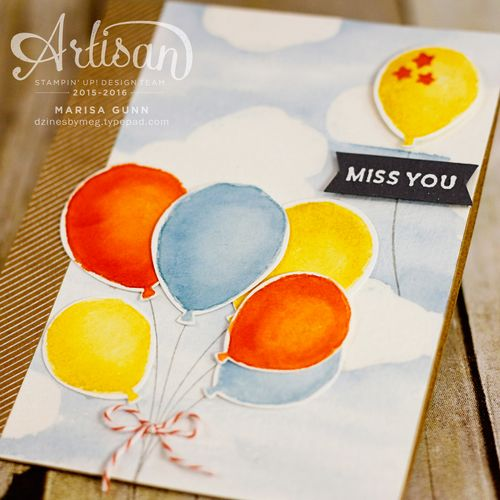Miss You card using the Balloon Celebration Stamp Set and Balloon Bouquet Punch from Stampin' Up!, by Marisa Gunn