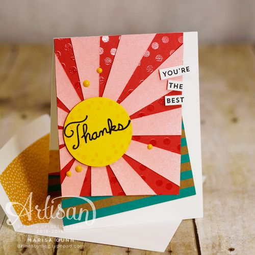 Shine Bright card set and gift box with the Shine On Specialty DSP, Sunburst Sayings Stamp Set and Sunburst Thinlits Die by Marisa Gunn