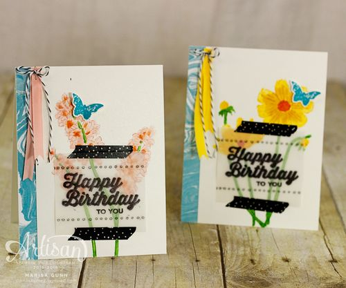 Spring Birthday Cards using the Helping Me Grow and Perfect Pairings Stamp Sets by Stampin' Up! from Marisa Gunn for Fancy Friday