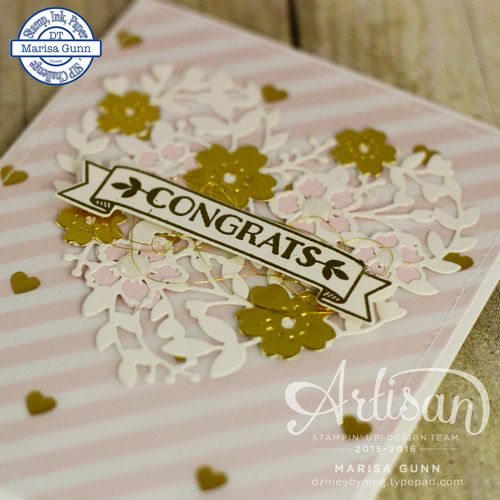 SIP 41 Wedding card using the Bloomin' Love stamp set and the Bloomin' Heart dies from Stampin' Up! by Marisa Gunn.