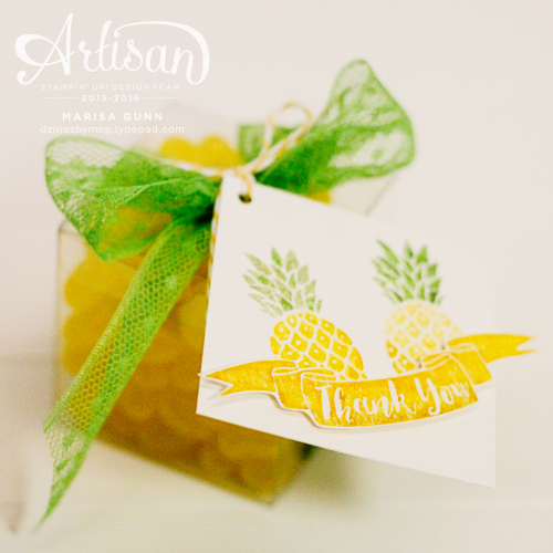 Summery card and gift box with tag featuring the Pop of Paradise stamp set from Stampin' Up by Marisa Gunn