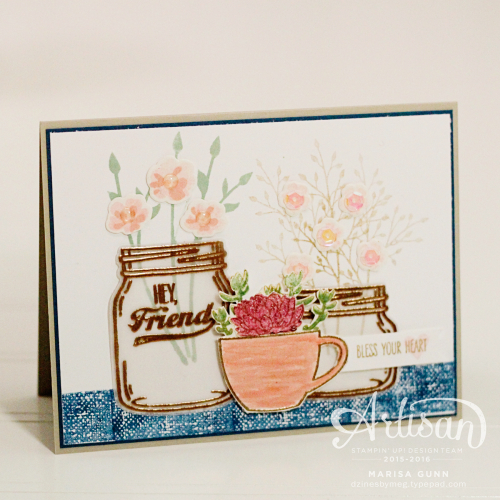 Friendship Card featuring Jar of Love Bundle from Stampin' Up! for Fancy Friday Blog Hop by Marisa Gunn.