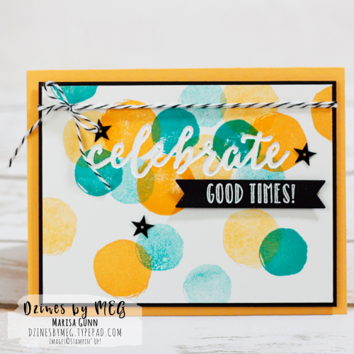 Celebration card featuring the Happy Celebrations stamp set from Stampin' Up by Marisa Gunn for TGIFC110