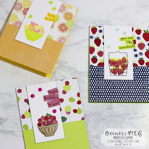 Patterned paper cards featuring the Fruit Basket Bundle and the Tutti-Frutti patterned papers from Stampin' Up by Marisa Gunn for Fancy Friday.