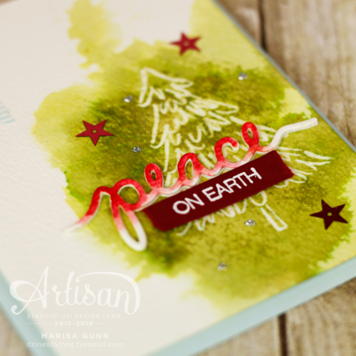 Christmas card using Peaceful Pines and Christmas Greetings Thinlits from Stampin' Up!, by Marisa Gunn, 2015-2016 Artisan Design Team