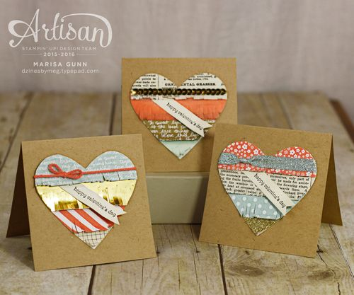 Valentine's Day cards using aqua, coral, gold and newsprint and the Teeny Tiny Wishes Stamp Set from Stampin' Up!, by Marisa Gunn