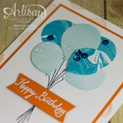 Birthday card using Perfectly Artistic DSP and the Balloon Bouquet Punch from Stampin' Up! by Marisa Gunn.