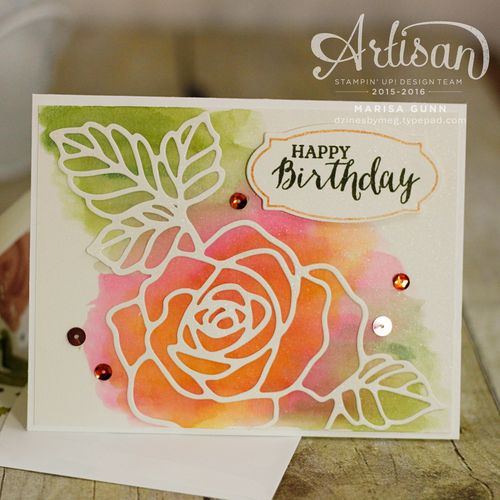 OSAT April 2016 Blog Hop, Tic Tac Toe theme featuring 4 cards and a card holder box using the Rose Wonder Photopolymer Bundle from Stampin' Up! by Marisa Gunn