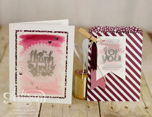Thank you cards and mini treat bags featuring watercolor and new 2016-2018 In Colors from Stampin' Up! by Marisa Gunn.
