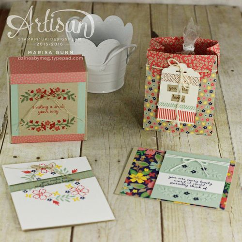 Card set, bag and gift box featuring the Affectionately Yours product suite from Stampin' Up! by Marisa Gunn