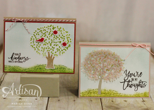 Spring and Summer scene cards using the Thoughtful Branches bundle from Stampin' Up! by Marisa Gunn.