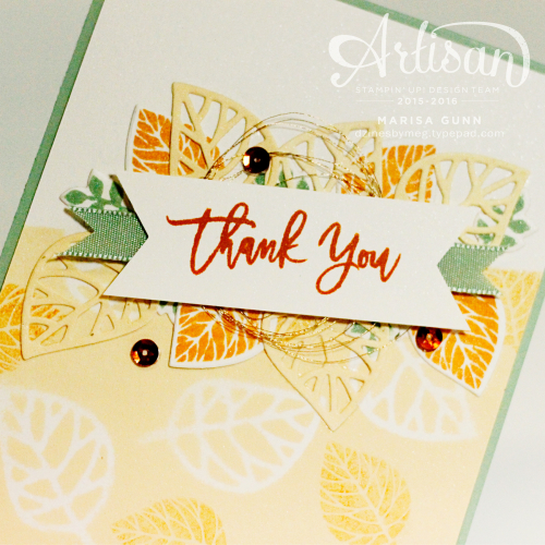 Thank You card featuring the Thoughtful Branches bundle from Stampin' Up! by Marisa Gunn