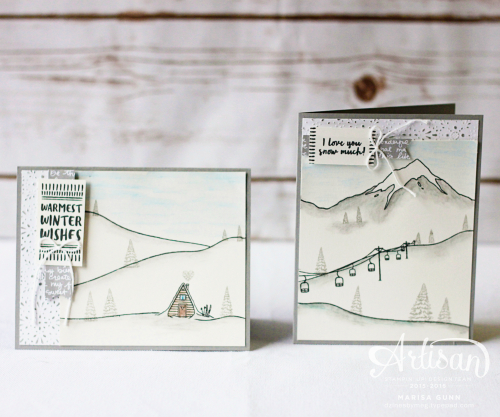 Winter white and neutral cards featuring the Mountain Advensture stamp set from Stampin' Up! by Marisa Gunn for Fancy Friday.