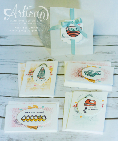 Valentine's cards and gift bag featuring the Perfect Mix Stamp Set from Stampin' Up by Marisa Gunn for OSAT Blog Hop
