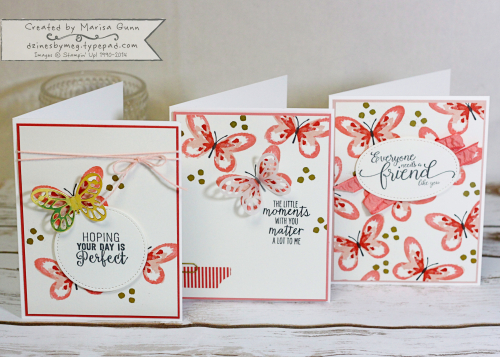 Set of friendship cards featuring the Watercolor Wings Stamp Set from Stampin' Up by Marisa Gunn for TGIFC#96
