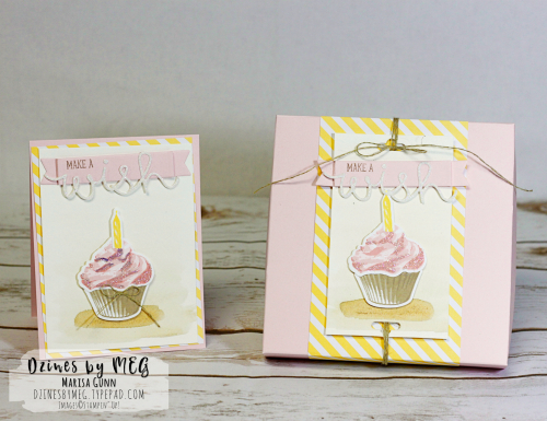 Birthday Card and Gift Box featuring the Sweet Cupcake Stamp Set from Stampin' Up by Marisa Gunn for OSAT Blog Hop Mar '17