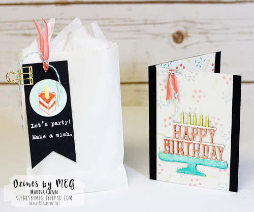 Birthday card and gift bag for #TGIFC105 featuring Party With Cake Stamp Set from Stampin' Up by Marisa Gunn