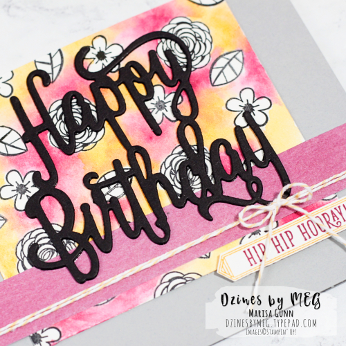 Birthday card featuring the Happy Birthday Gorgeous Bundle from Stampin' Up! by Marisa Gunn for TGIFC114