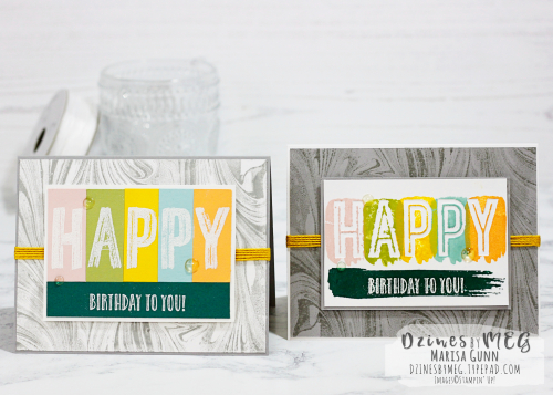 Birthday cards featuring the Happy Celebrations Stamp Set from Stampin' Up by Marisa Gunn