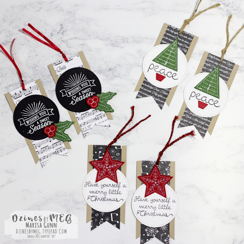Christmas tags featuring the Merry Music Specialty DSP from Stampin' Up! by Marisa Gunn