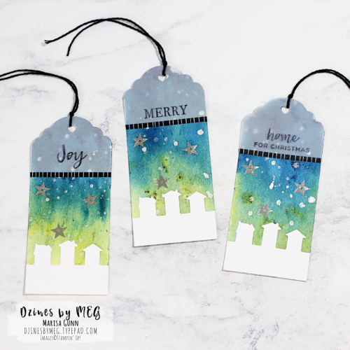Christmas card and tags featuring the Hearts Come Home Stamp Set from Stampin' Up by Marisa Gunn