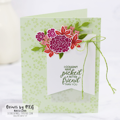 Friendship card featuring the Beautiful Bouquet Stamp Set and Bouquet Bunch Framelits Dies from Stampin' Up by Marisa Gunn for Fancy Friday